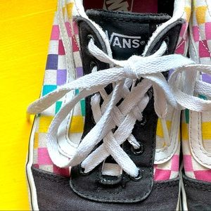 VANS Old Skool Missy Rainbow Checkered Lace Shoes